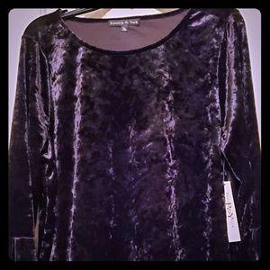 🔥BNWT Preston & York black velvet top XL stunning